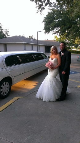 Wedding Limo With Bride And Groom
